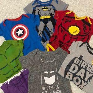 Superhero onesie lot!!! Various sizes from 6-18M